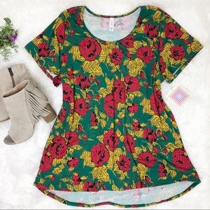 Lularoe Classic T red rose short sleeve top